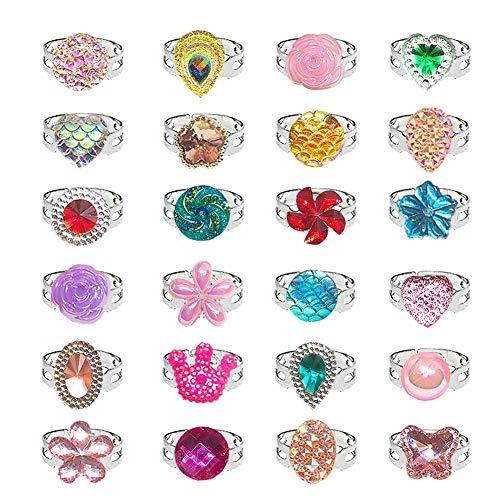 RAINBOWTRIP24PCS 다이아몬드 반지를 위한 아이의 보석 반지 세트 조정가능한없이 복제 에 반지 상자 어린 소녀 게임을 드레스