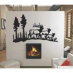 Wild Mountain Forest with Trees and Deer Herd Doe Buck Outdoor Nature Scene Graphic Mural Design - Peel & Stick Sticker - Vinyl Wall Home Decor Decal - DISCOUNTED SALE PRICE Size : 20 Inches X 40 Inches - 22 Colors Available