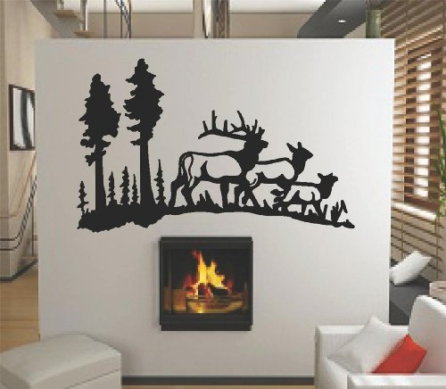 Herd of Deers Doe Buck at the Wild Mountain Forest with Trees Outdoor Nature Scene Graphic Mural Design - Peel & Stick Sticker - Vinyl Wall Home Decor Decal - Size : 8 Inches X 16 Inches - 22 Colors Available - Designs Mural