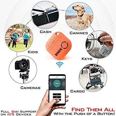 Bluetooth Key Finder Keychain GPS Tracker for Keys with App – Tracking Device for Phone, Keys, Luggage, Backpacks, Wallets, More – Bluetooth Anti-Lost Device Locator Tags – GPS Tracking Chip by Rinex: Sports & Outdoors