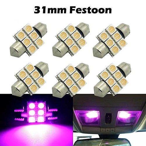 Partsam 6X 31mm LED Festoon Dome Car Bulbs 3021 3022 DE3175 Purple For 1992 1993 1994 1995 2004 2006 2007 2008 2009 2010 2011 1992 Honda Civic