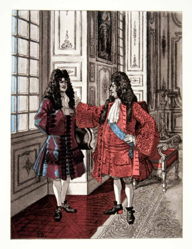 1959 Photolithograph Brissaud Art King Louis XIV Royalty Dying Historic Costumes - Orig. Photolithograph from PeriodPaper LLC-Collectible Original Print Archive