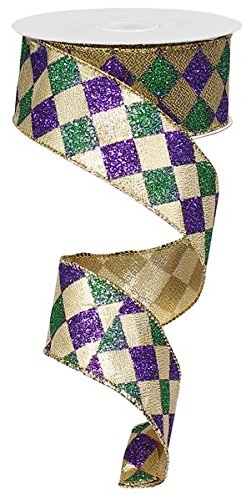 Mardi Gras Harlequin Glitter Diamond Ribbon: Purple, Green & Gold 1.5