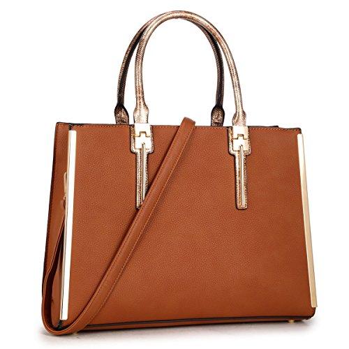 Design Large Leather Satchel Handbag Ladies Purse Shoulder Bag Brown