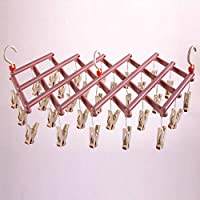 GANZAO Windproof Rotatable Drying Rack,with 29 Clip Hanger Multi-Function Foldable Plastic Clothes Stand Creative Free Retractable Wet and Dry Multi-Purpose Multi-Clip Design Roller Airer (Color : C)