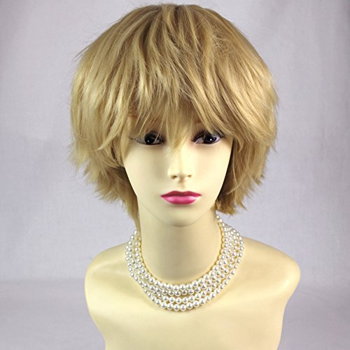STRIKING Blonde Man's Wig Short Spikey Style Lady Wig Cosplay Party WIWIGS UK by Wiwigs by Wiwigs