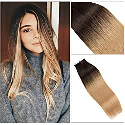 TOFAFA 18 Inch Balayage Ombre Tape in Hair Extensions Full Head Seamless Remy Human Adhesive Double Sided Skin Weft Tape Hair Extension Color Dark Brown #2 Fading to Ash Blonde 50g 20Pcs (18'', 2/18)