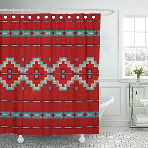 Santa Fe Shower Curtain Hooks - Semtomn Shower Curtain Western Southwest Mesas Red Santa Tribal Native Desert Turquoise 72