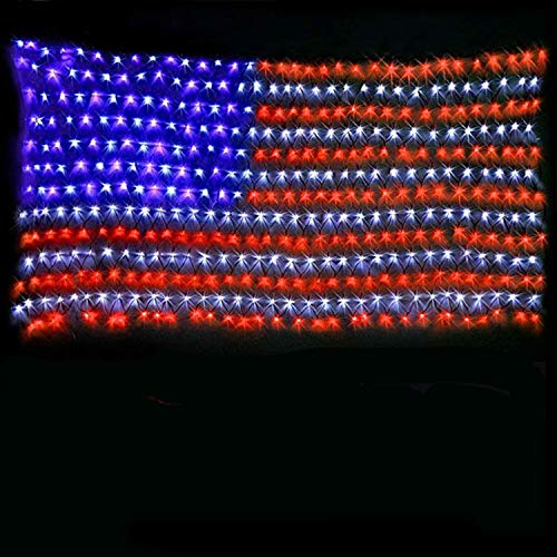 American Flag Lights with 420 Super Bright LEDs,KAZOKU Waterproof Led Flag Net Light of The United States for Yard,Garden Decoration, Festival, Holiday, Party Decoration,Christmas Decorations (Best Christmas Lights For Outside House)
