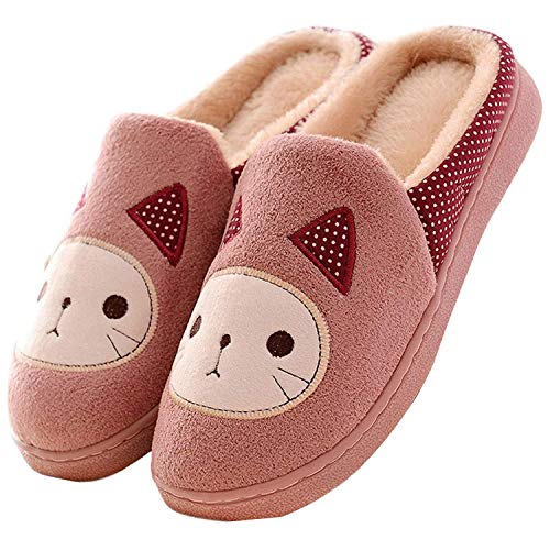 Maybest Women's Girls Autumn Winter Cotton Slippers Cartoon Cat Pattern Indoors Anti-Slip Flat Slippers Pink 8 B (M) US