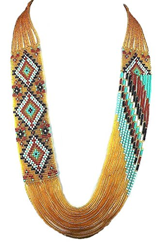 La vivia BEAUTIFUL GOLDEN LAYERED SEED BEADED NECKLACE EARRING SET (Native American Style Necklace)