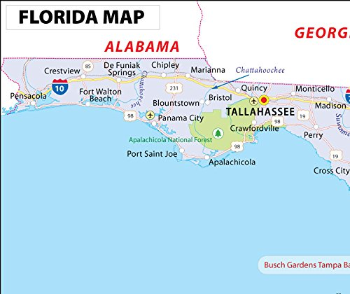 Amazon Com Florida Map Laminated 36 W X 30 H Office Products