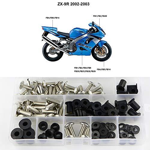 Xitomer Complete Fairing Bolts, for Kawasaki NINJA ZX-9R 2002-2003, Full Set Bodywork Screws/Fastenings/Mounting Kits (Silver)