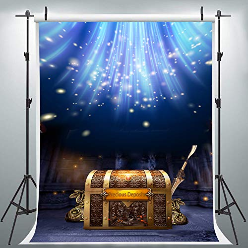 - Fairytale Treasure Chests Under Ocean Backdrop for Photography, 6x9FT, Blue Fantasy Spots Background, Great for Party Portraits Business Booth YouTube Props HXLU234
