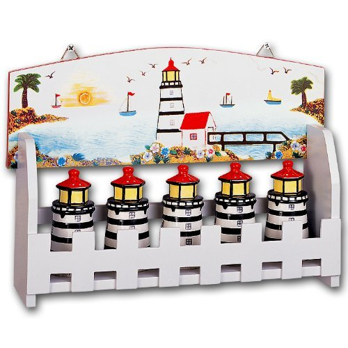 KKM Lighthouse Faro Nautical Ceramic Kitchen Spice Jars w...