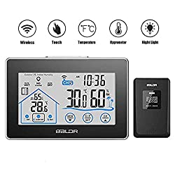 Wireless Weather Station Clock, Outdoor Indoor Thermometer Hygrometer with Sensor, Wall Mounted Humidity and Temperature Meter, Bedroom Living Room Humidity Gauge, LCD Touch Screen Battery Operated