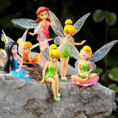 DAMEING 6PCS Miniature Flower Fairy Girls Tinkerbell Fairies Cake Toppers Garden Landscaping Flowers Ornaments Cupcake Topper Figurine Decoration for Kids Birthdays