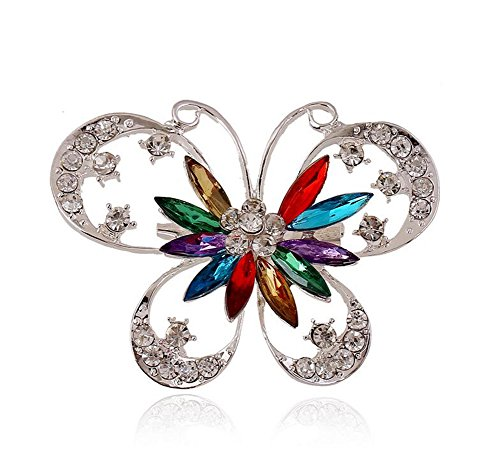 Hosaire Brooch Pin Diamond Butterfly Wedding Bridal Rhinestone Shawl Clip for Ladies Jewelry(Colorful)