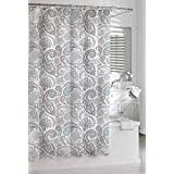 Kassatex Paisley Shower Curtain, Blue/Grey, 72 by 72-Inch