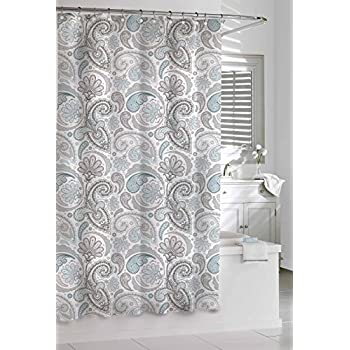 Amazon Com Kassatex Sps 115 Bgr Paisley Shower Curtain Blue Grey