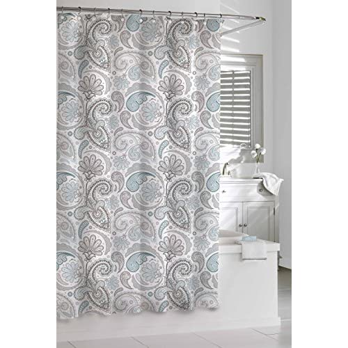 Cheap Kassatex SPS-115-BGR Paisley Shower Curtain, Blue/Grey, 72 by 72-Inch for sale