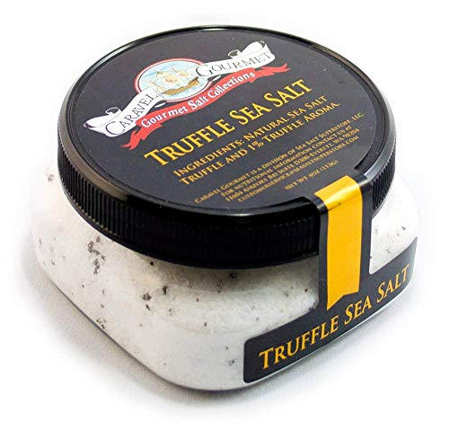 Italian Black Truffle Sea Salt - All-Natural Infused Sea Salt with Black Truffles & Truffle Oil from Italy - No Gluten, No MSG, Non-GMO - Cooking and Finishing Salt - 4 oz. Stackable Jar