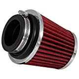 K&N RG-1003RD-L Universal Clamp-On Air Filter: Round Tapered; 2.25 in/2.5 in/2.75 in (70 mm/64 mm/57 mm) Flange ID; 4.5 in (114 mm) Height; 4.5 in (114 mm) Base; 3.5 in (89 mm) Top