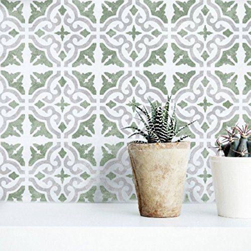 Seville Tile Stencil - 3-Layer Mediterranean Furniture Floor Wall Tile Stencil (X Small)