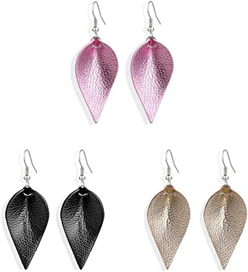 Silver Glitter Leather Leaf Earrings