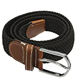 SODIAL(R) Unisex Men Women Stretch Braided Elastic Leather Buckle Belt Waistband black