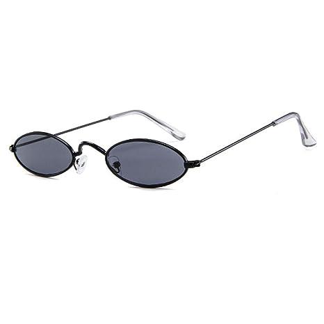 FOONEE Gafas de Sol ovaladas pequeñas, Gafas de Sol de Ojo de Gato Retro, ovaladas, Marco de Metal Delgado, para Mujeres/Hombres, Colores de Caramelos ...