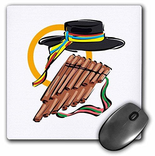 3dRose Susans Zoo Crew Music - hat pan flute ribbon music design - MousePad (mp_164317_1)