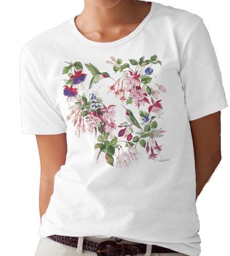 (Fuchsia and Hummingbirds T-shirt/tee by Valerie Pfeiffer - X-Large)