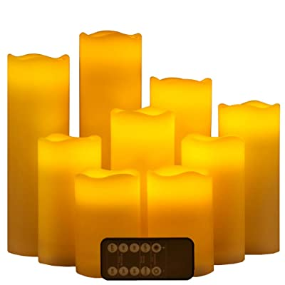 """Flameless Candles LED Votive Candle Set of 9 (D 2.5"""" x 4"""" 5"""" 6"""" 7"""" 8"""" 9"""") Flickering Ivory Color Electric Candles aa Battery Operated, Real Wax LED Pillar Candle Sets with Remote Control and Timer: Home Improvement"""