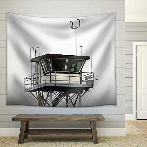 Coast Guard Tower Overlooking the Pacific Ocean Fabric Wall Tapestry