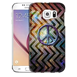 Samsung Galaxy S6 Case, Slim Snap On Cover Peace on Nebula Cosmic Vertical Chevrons Case