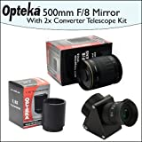 Opteka 500mm f/8 HD Telephoto Mirror Lens + Lens Converter To Telescope Kit + 2X Teleconverter Kit