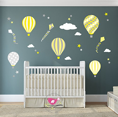 Hot air balloon wall stickers kites white clouds stars yellow and grey