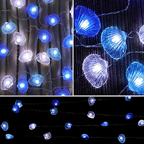 SFgift Seashell String Lights, 13.5ft Battery Operated Cold White LED, 40pcs Lights with Remote Control and Timer for Wedding Nursery Bedroom Party Birthday Ornament