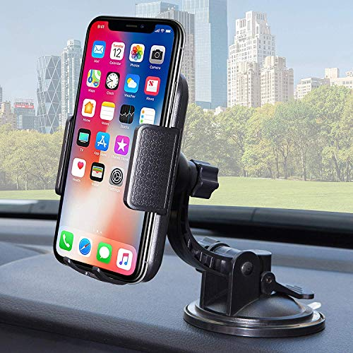 (Bestrix Universal Dashboard & Windshield Car Phone Dash Mount Holder Compatible with iPhone 6/6S/7/8/X Plus 5S/5C/5 Samsung Galaxy S5/S6/S7/S8/S9 Edge/Plus/Note and All Smartphones up to 6