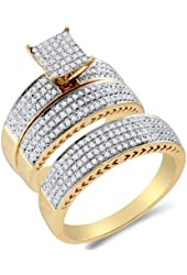 10K Two Tone Gold Diamond Mens and Ladies Couple His & Hers Trio 3 Three Ring Bridal Matching Engagement Wedding Ring Band Set - Square Princess Shape Center Setting w/ Micro Pave Set Round Diamonds - (.97 cttw) - Please use drop down menu to select your desired ring sizes