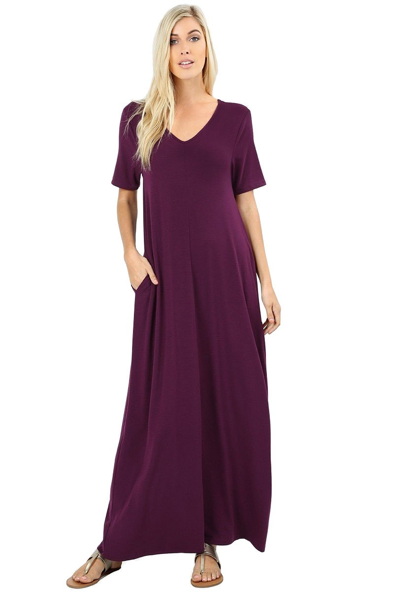 12 Ami Emma V-Neck Short Sleeve Maxi Dress w/Pockets Purple XXXL