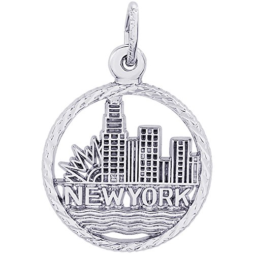 Rembrandt Charms Sterling Silver New York City Skyline Charm (15.5 x 15.5 mm)