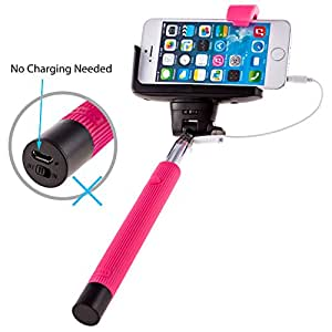 [Overstock Sale] PTDC Selfie Monopod Stick with Built-in Remote Shutter, Wired Cable, Pink Arm Extender | Only for Iphone 6 6plus 5s 5c 5 4s 4, Samsung S3 S4 S5 S6 Note 4 3 2 É