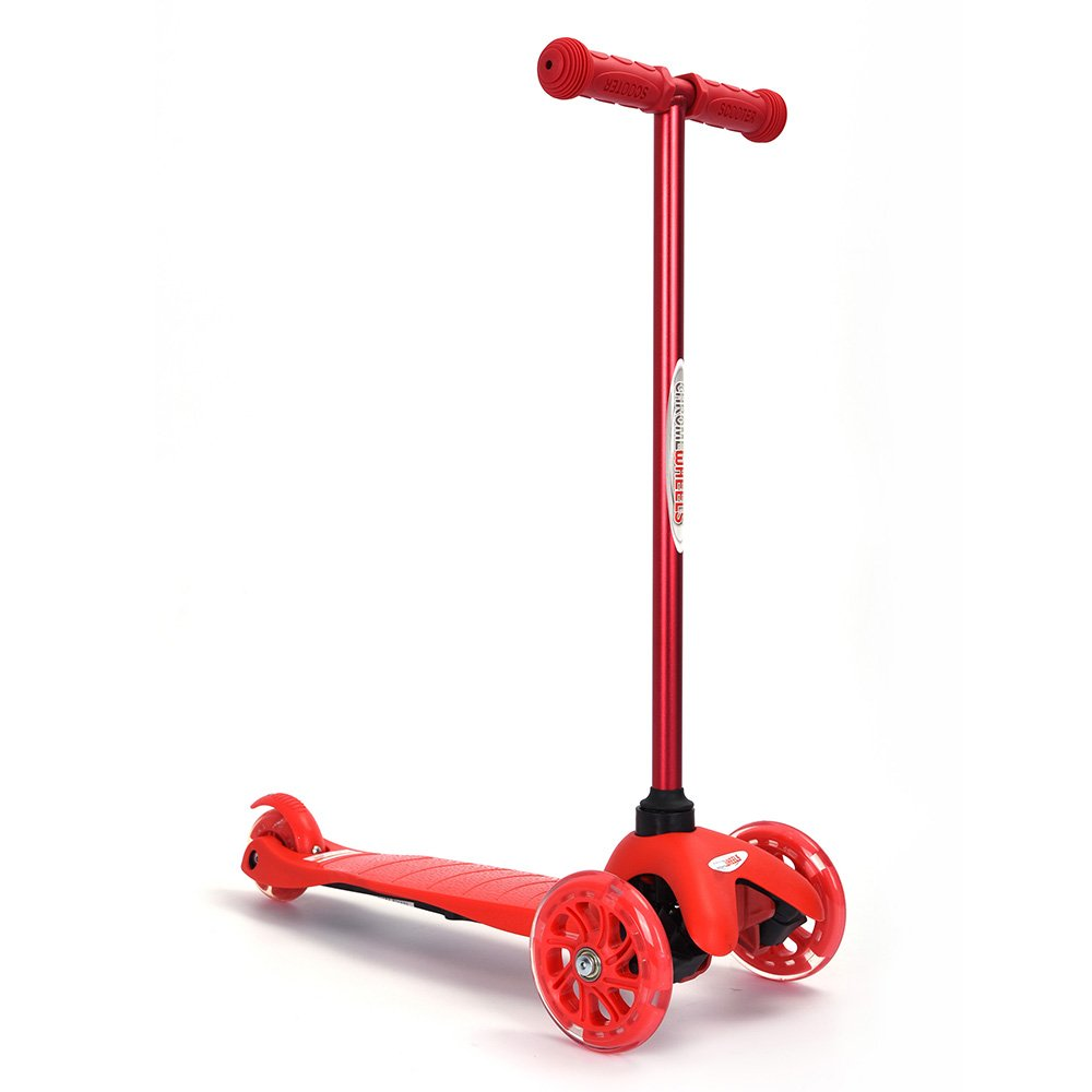 ChromeWheels Scooter for Kids 3 Wheels With LED Lights Mini GlideKick Balanced Vehicle, Red