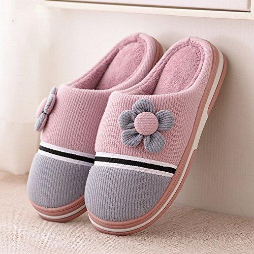 Halb-Winter-Paar mit Baumwoll-Pantoffeln Homewear Rutschfeste Abriebfeste Boden Warme Hausschuhe,B,35-36