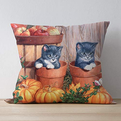 SUNH0ME Square Wrinkle- Fade -Stain Resistant Throw Pillowcase, Beautiful Halloween Kittens Home Decor Cushion Cover - 20 x 20 Inches, Pillow Protectors for Bedroom Sofa Office Rest Game
