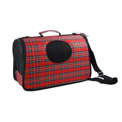 Anima Plaid PVC Hard Shell Pet Travel Carrier, 15-Inch by 8.5-Inch by 7-Inch (Pet Carrier Plaid)