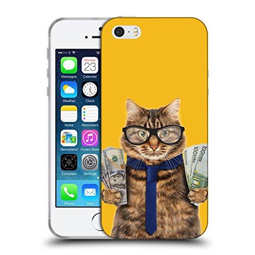 GoGoMobile Coque de Protection TPU Silicone Case pour // Q05660602 Chat d'affaires Ambra // Apple iPhone 5 5S 5G SE