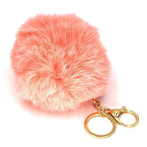 Miraclekoo Rabbit Fur Ball Key Chain Gold Plated Keychain with Plush for Car Key Ring or Handbag Bag Decoration (sky blue)